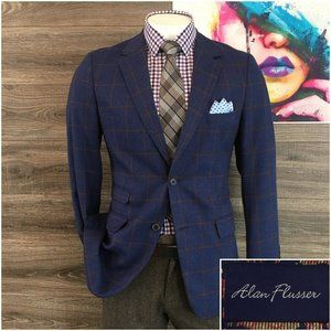 Alan Flusser Mens Sport Coat 2 Button Blazer Jacke